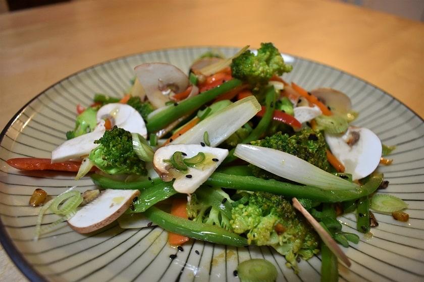 Verduras al wok con vinagreta